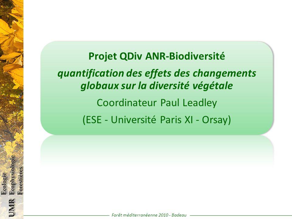 Projet QDiv ANR-Biodiversité quantification des effets des changements globaux sur la diversité végétale Coordinateur Paul Leadley (ESE - Université P