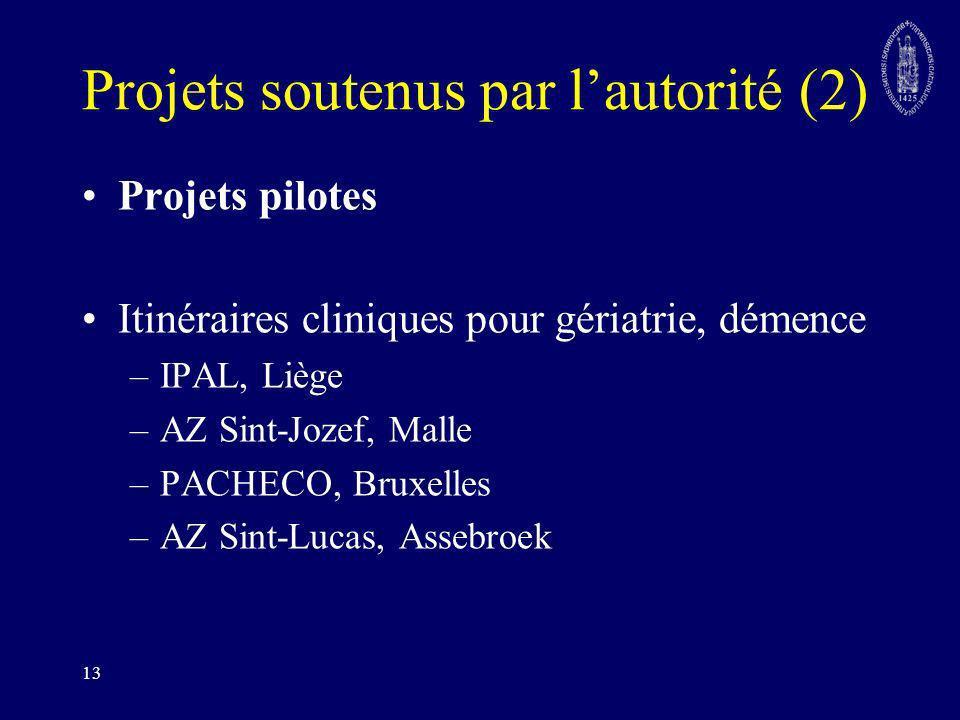 13 Projets soutenus par lautorité (2) Projets pilotes Itinéraires cliniques pour gériatrie, démence –IPAL, Liège –AZ Sint-Jozef, Malle –PACHECO, Bruxe