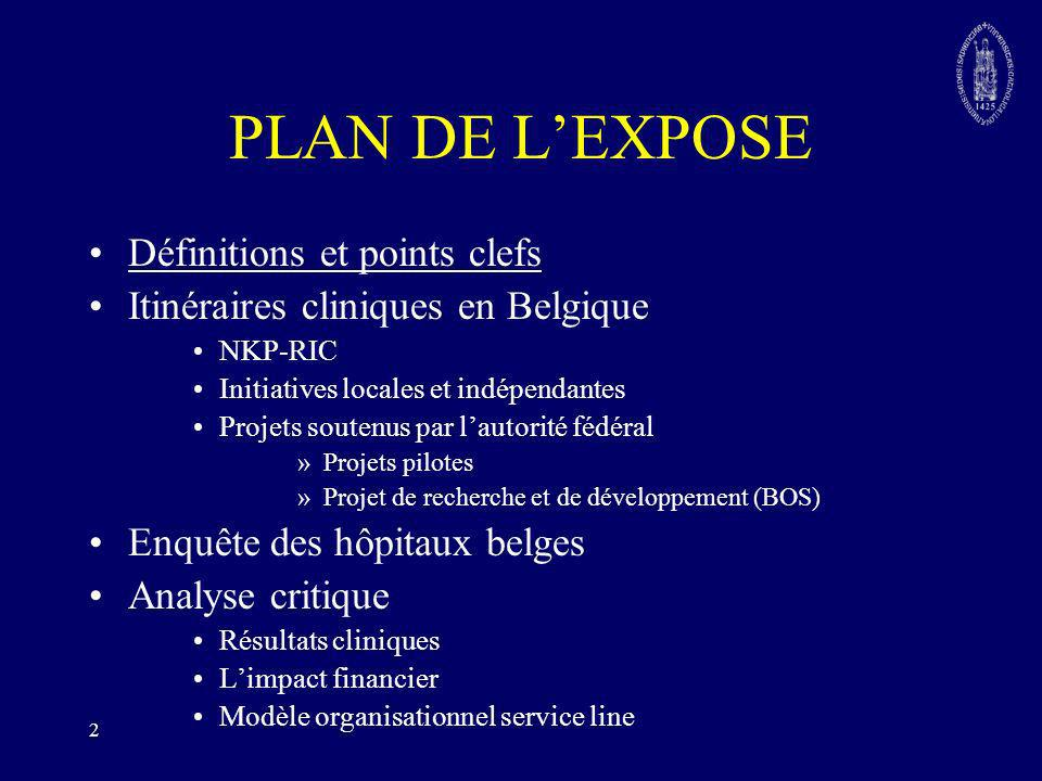 2 PLAN DE LEXPOSE Définitions et points clefs Itinéraires cliniques en Belgique NKP-RIC Initiatives locales et indépendantes Projets soutenus par laut