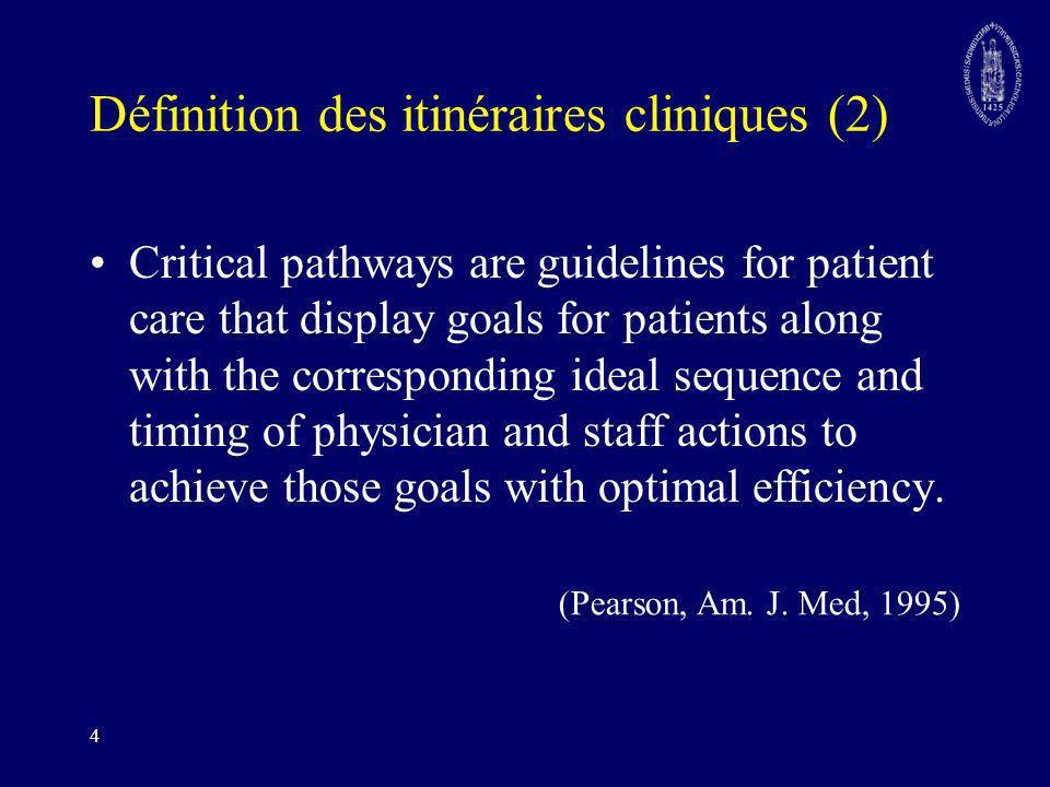 5 Définition des itinéraires cliniques (3) Un itinéraire clinique se définit comme un ensemble de méthodes et d instruments pour mettre les membres d une équipe pluridisciplinaire et interprofessionnelle d accord sur les tâches à accomplir pour une population de patients spécifique.