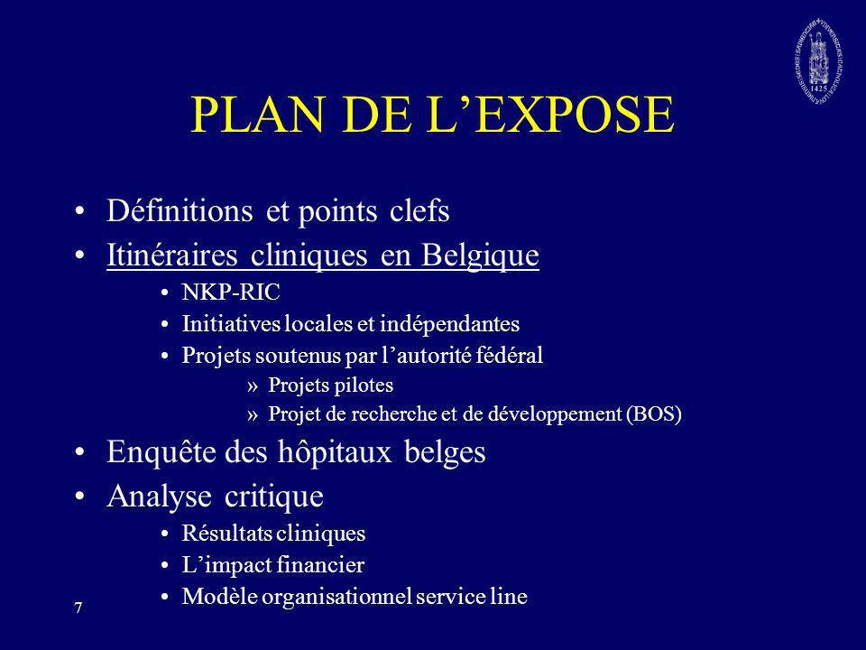 8 Les itinéraires cliniques en Belgique Netwerk Klinische Paden (NKP-RIC) Initiatives locales Les projets soutenus par lautorité fédérale –Les projets pilotes: Chirurgie Gériatrie démence Obésité –Collaboration en matière de recherche et de développement (BOS)