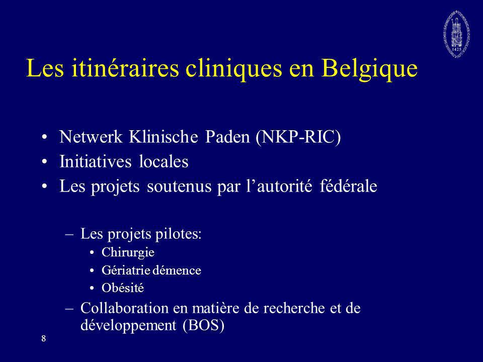 8 Les itinéraires cliniques en Belgique Netwerk Klinische Paden (NKP-RIC) Initiatives locales Les projets soutenus par lautorité fédérale –Les projets