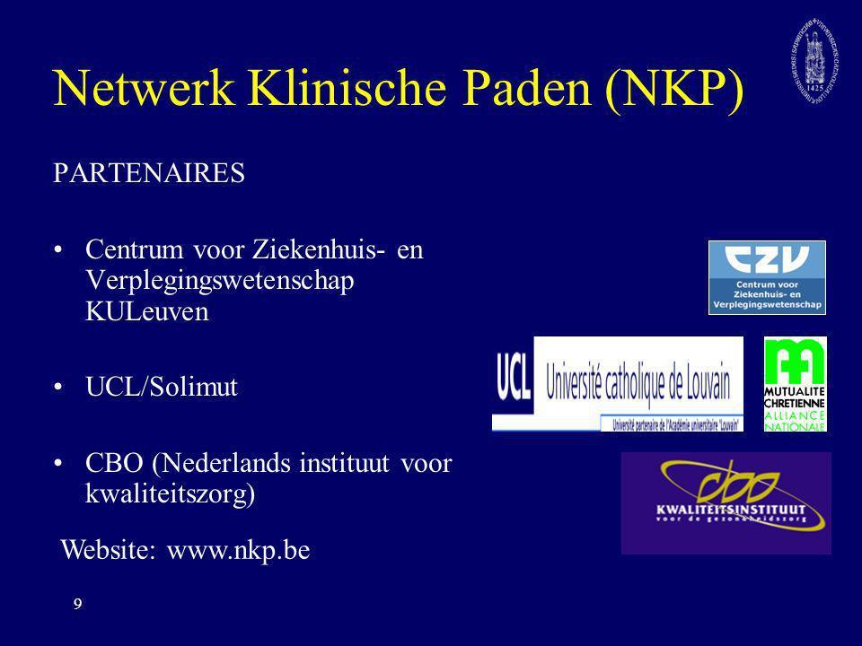 9 Netwerk Klinische Paden (NKP) PARTENAIRES Centrum voor Ziekenhuis- en Verplegingswetenschap KULeuven UCL/Solimut CBO (Nederlands instituut voor kwal