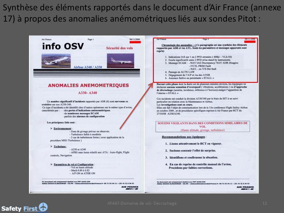 12 Synthèse des éléments rapportés dans le document dAir France (annexe 17) à propos des anomalies anémométriques liés aux sondes Pitot : AF447-Domaine de vol- Décrochage