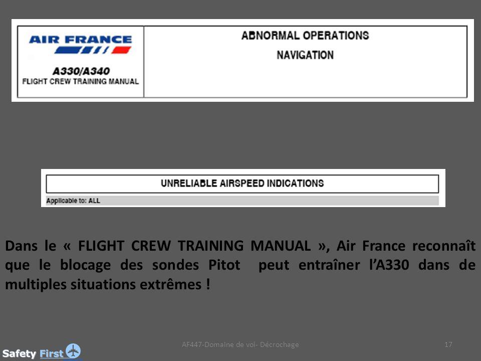AF447-Domaine de vol- Décrochage17 Dans le « FLIGHT CREW TRAINING MANUAL », Air France reconnaît que le blocage des sondes Pitot peut entraîner lA330 dans de multiples situations extrêmes !