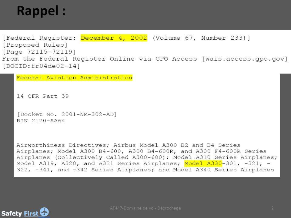 2AF447-Domaine de vol- Décrochage Rappel :