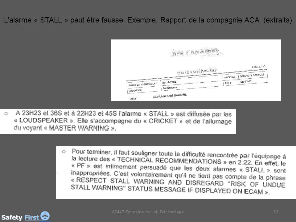 AF447-Domaine de vol- Décrochage22 Lalarme « STALL » peut être fausse.
