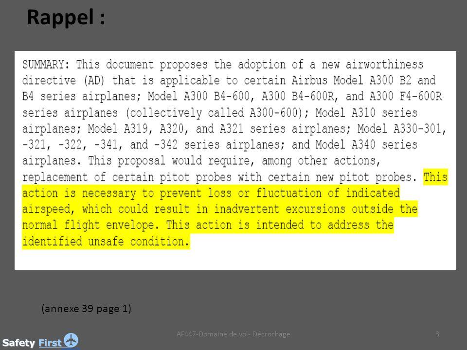 3 (annexe 39 page 1) AF447-Domaine de vol- Décrochage Rappel :