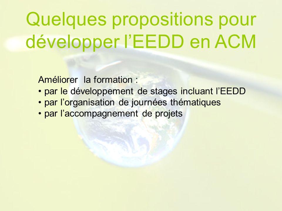 Améliorer la formation : par le développement de stages incluant lEEDD par lorganisation de journées thématiques par laccompagnement de projets Quelques propositions pour développer lEEDD en ACM