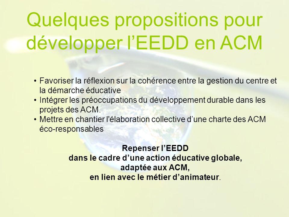 Favoriser la réflexion sur la cohérence entre la gestion du centre et la démarche éducative Intégrer les préoccupations du développement durable dans les projets des ACM.