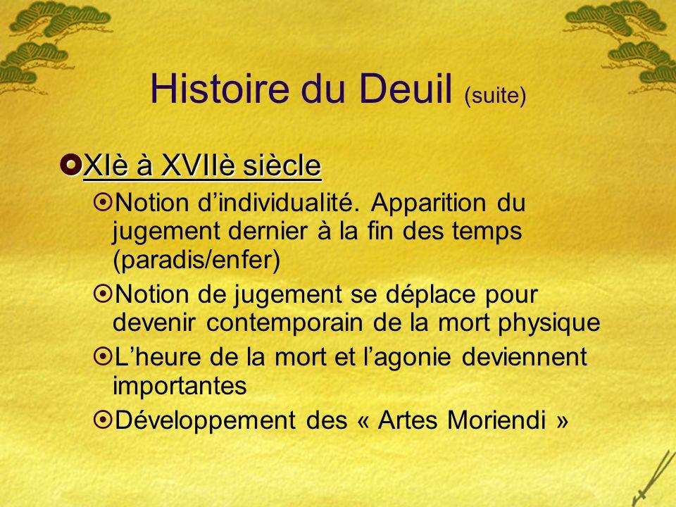 Histoire du Deuil (suite) XIè à XVIIè siècle XIè à XVIIè siècle Notion dindividualité. Apparition du jugement dernier à la fin des temps (paradis/enfe