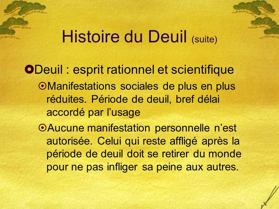 Histoire du Deuil (suite) Deuil : esprit rationnel et scientifique Manifestations sociales de plus en plus réduites. Période de deuil, bref délai acco