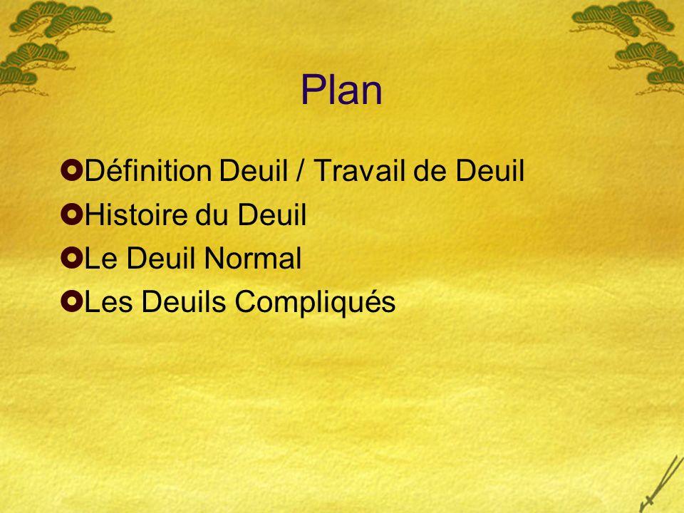 Histoire du Deuil (suite) Deuil : esprit rationnel et scientifique Manifestations sociales de plus en plus réduites.
