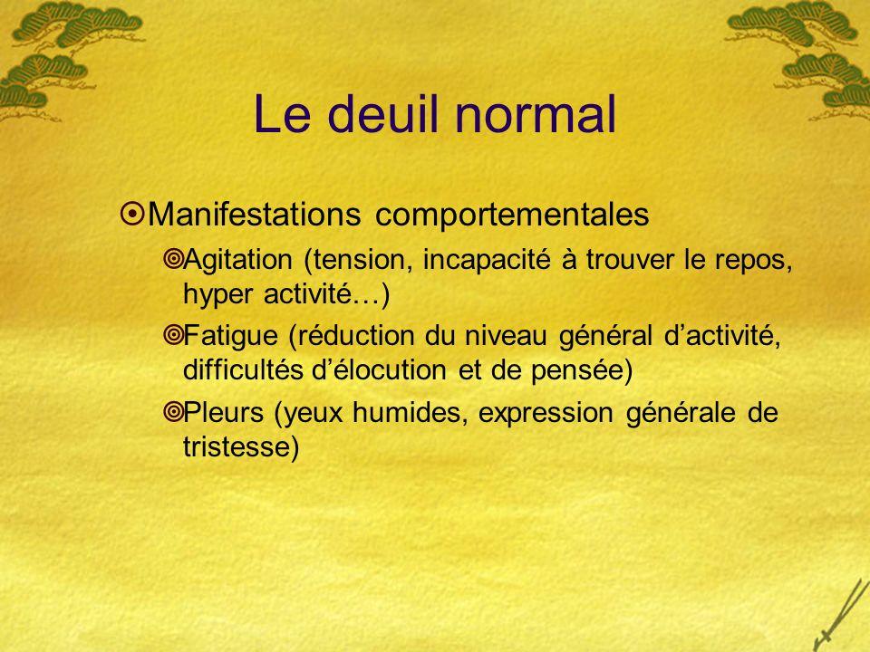 Le deuil normal Manifestations comportementales Agitation (tension, incapacité à trouver le repos, hyper activité…) Fatigue (réduction du niveau génér