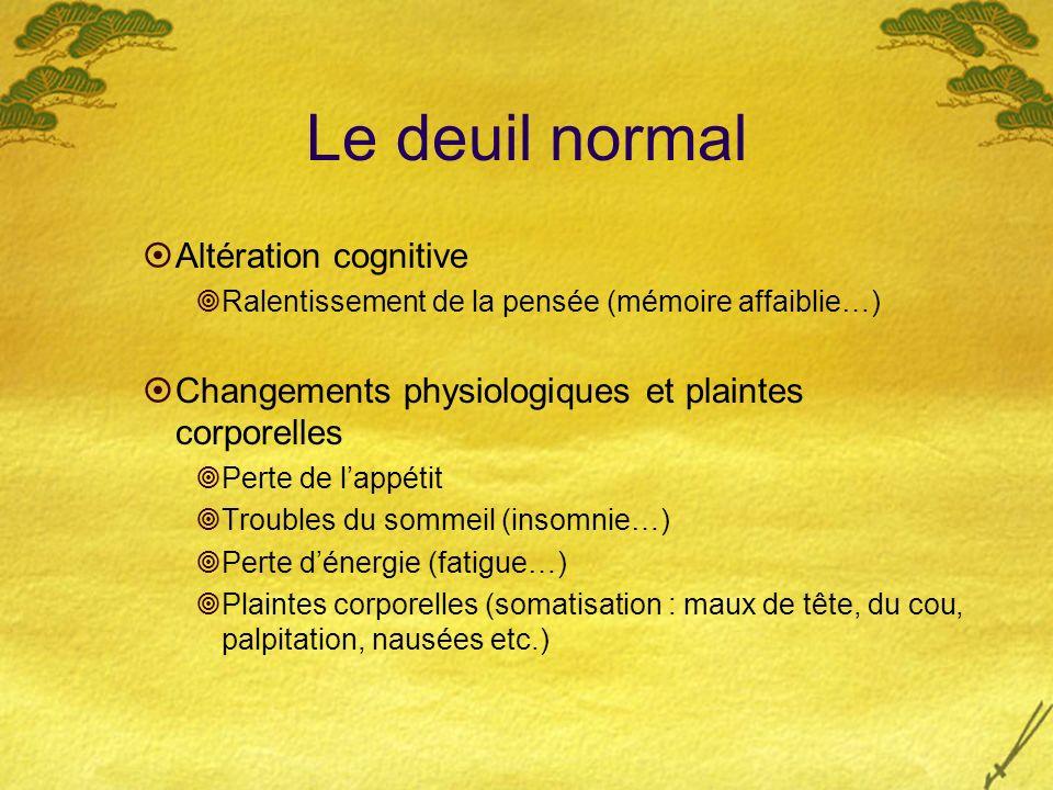 Le deuil normal Altération cognitive Ralentissement de la pensée (mémoire affaiblie…) Changements physiologiques et plaintes corporelles Perte de lapp