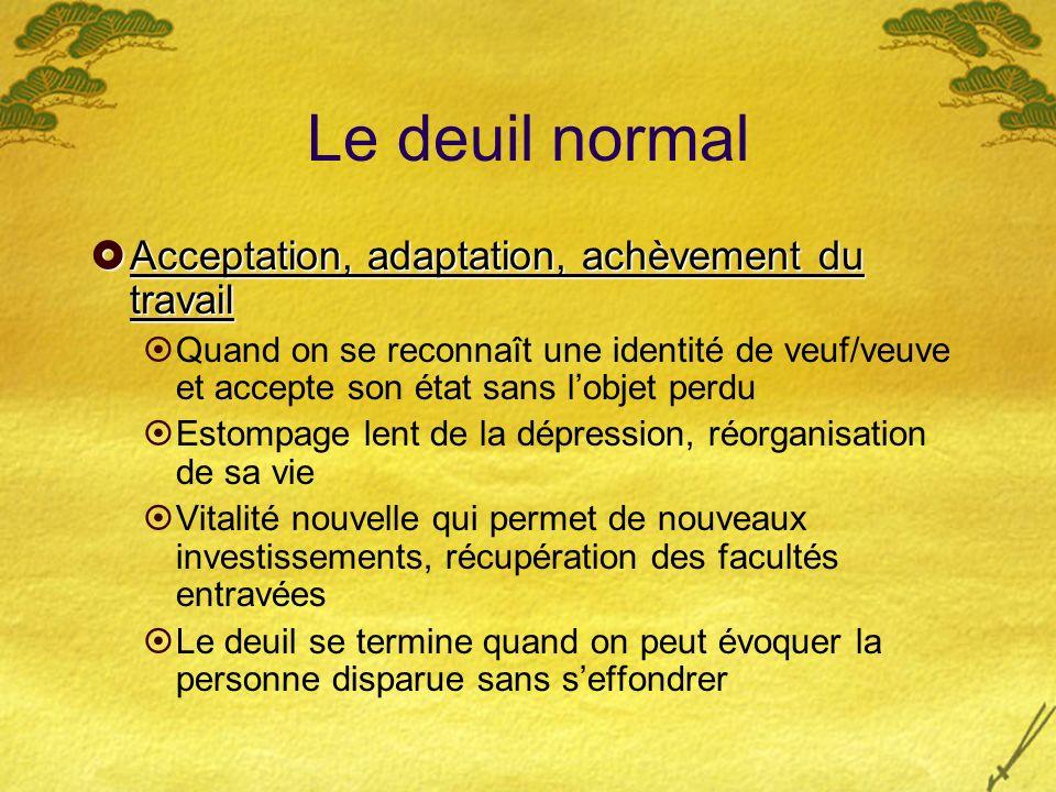 Le deuil normal Acceptation, adaptation, achèvement du travail Acceptation, adaptation, achèvement du travail Quand on se reconnaît une identité de ve