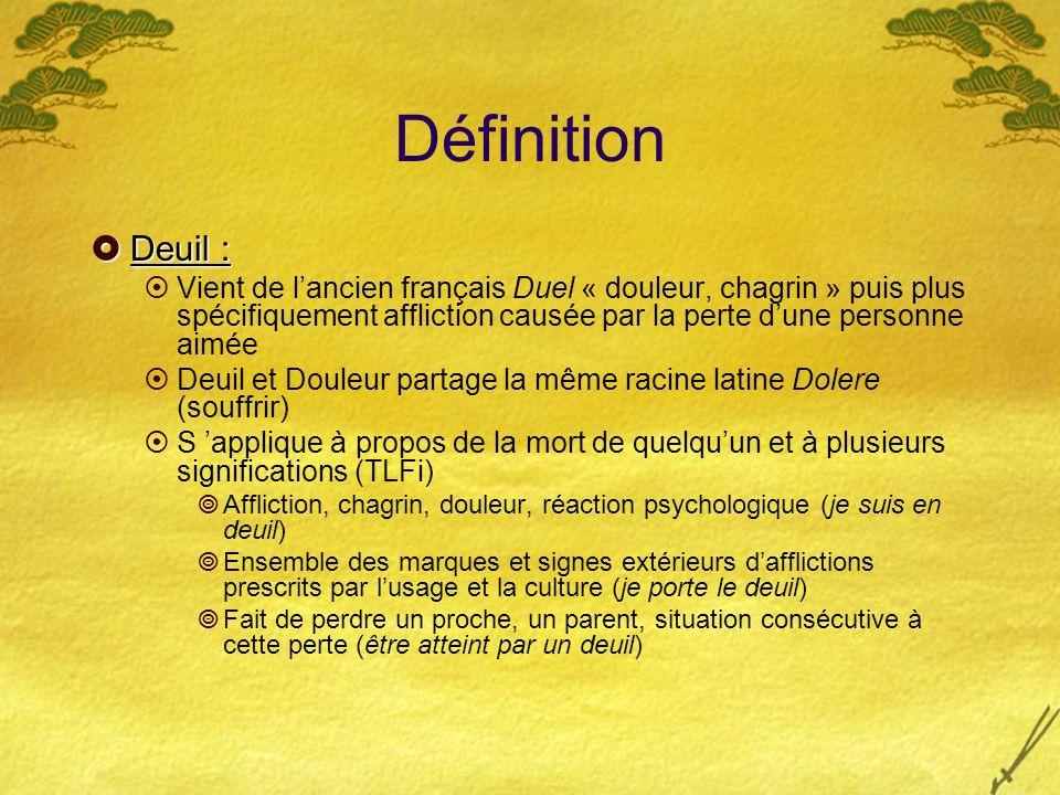 Définition Deuil : Deuil : Vient de lancien français Duel « douleur, chagrin » puis plus spécifiquement affliction causée par la perte dune personne a