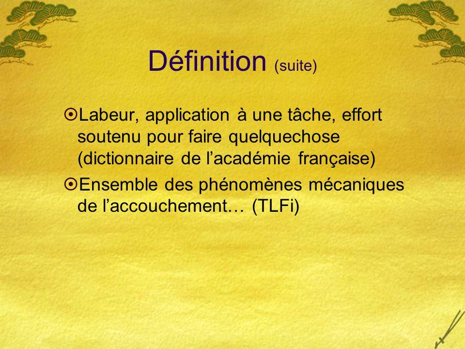 Définition (suite) Labeur, application à une tâche, effort soutenu pour faire quelquechose (dictionnaire de lacadémie française) Ensemble des phénomèn