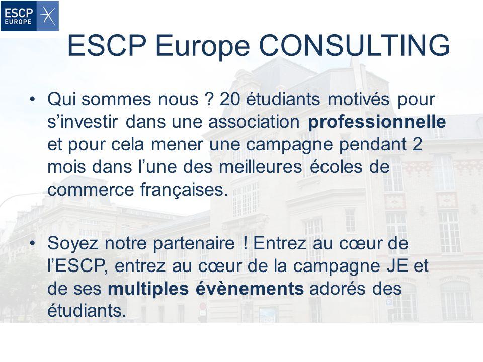 ESCP Europe CONSULTING Qui sommes nous ? 20 étudiants motivés pour sinvestir dans une association professionnelle et pour cela mener une campagne pend