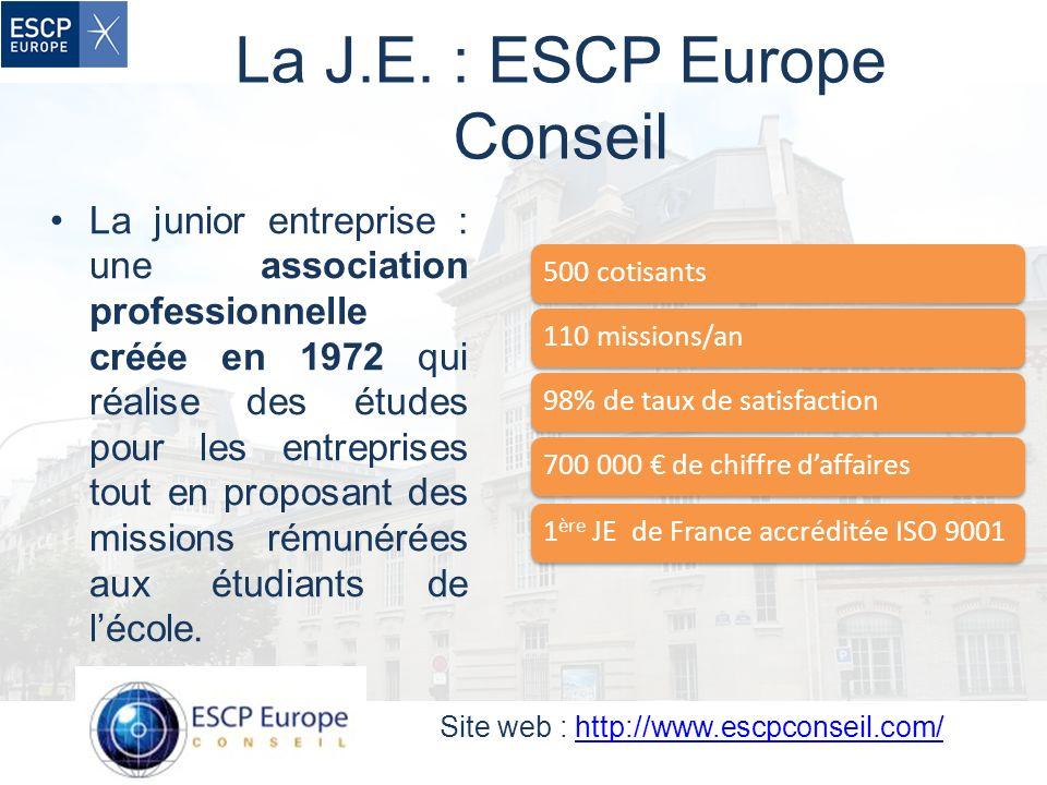 La J.E. : ESCP Europe Conseil La junior entreprise : une association professionnelle créée en 1972 qui réalise des études pour les entreprises tout en