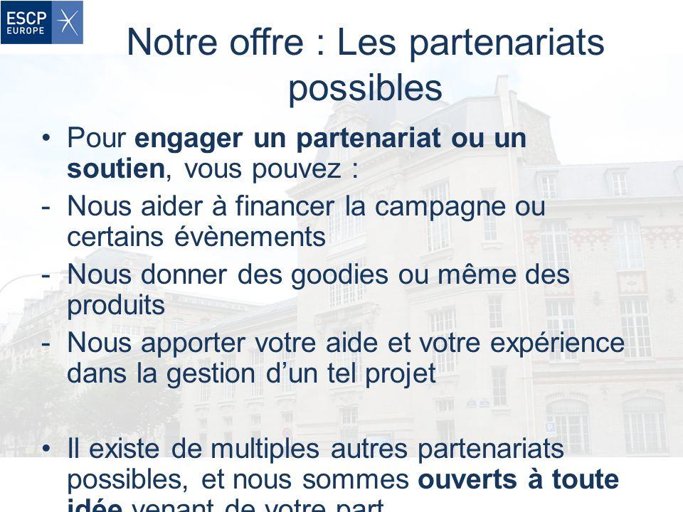 Notre offre : Les partenariats possibles Pour engager un partenariat ou un soutien, vous pouvez : -Nous aider à financer la campagne ou certains évène