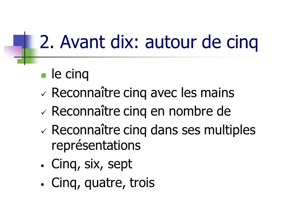 2. Avant dix: autour de cinq le cinq Reconnaître cinq avec les mains Reconnaître cinq en nombre de Reconnaître cinq dans ses multiples représentations