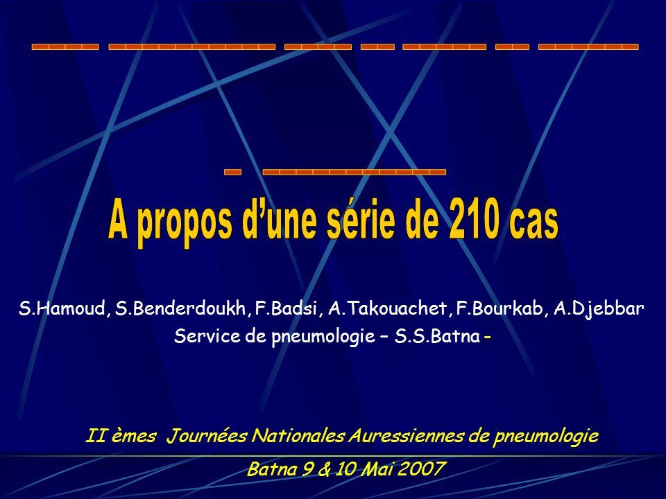 S.Hamoud, S.Benderdoukh, F.Badsi, A.Takouachet, F.Bourkab, A.Djebbar Service de pneumologie – S.S.Batna - II èmes Journées Nationales Auressiennes de