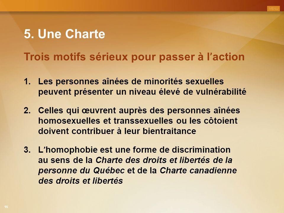 5. Une Charte 1.Les personnes aînées de minorités sexuelles peuvent présenter un niveau élevé de vulnérabilité Trois motifs sérieux pour passer à l '