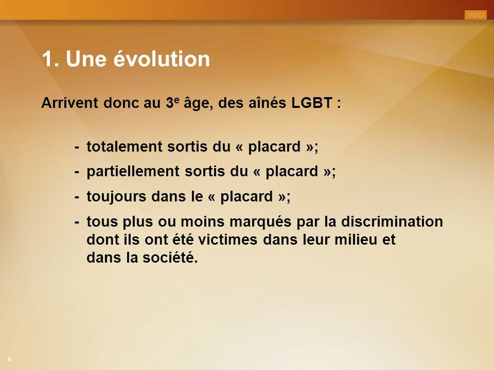 1. Une évolution Arrivent donc au 3 e âge, des aînés LGBT : -totalement sortis du « placard »; -partiellement sortis du « placard »; -toujours dans le