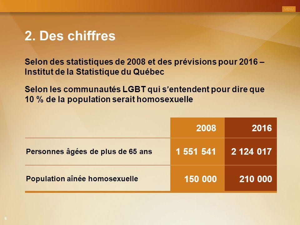 2. Des chiffres Selon des statistiques de 2008 et des prévisions pour 2016 – Institut de la Statistique du Québec Selon les communautés LGBT qui s ' e