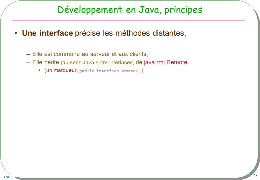ESIEE 12 Développement en Java, principes Une interface précise les méthodes distantes, –Elle est commune au serveur et aux clients, –Elle hérite (au