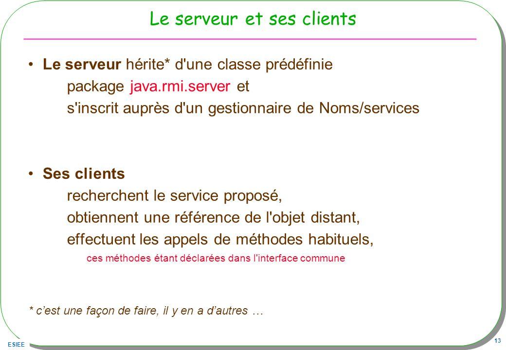 ESIEE 13 Le serveur et ses clients Le serveur hérite* d'une classe prédéfinie package java.rmi.server et s'inscrit auprès d'un gestionnaire de Noms/se