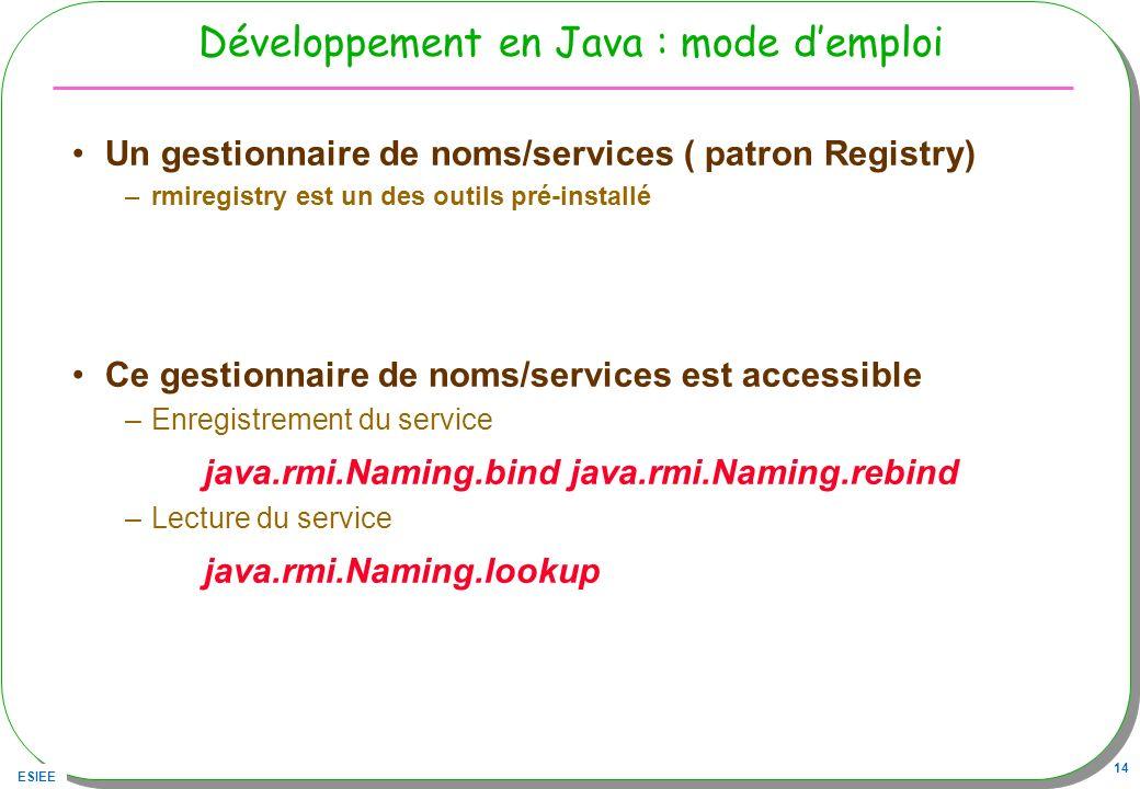 ESIEE 14 Développement en Java : mode demploi Un gestionnaire de noms/services ( patron Registry) –rmiregistry est un des outils pré-installé Ce gesti