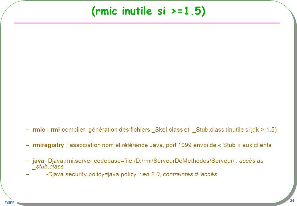 ESIEE 24 (rmic inutile si >=1.5) –rmic : rmi compiler, génération des fichiers _Skel.class et _Stub.class (inutile si jdk > 1.5) –rmiregistry : associ