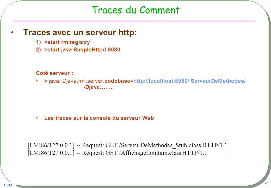 ESIEE 25 Traces du Comment Traces avec un serveur http: 1)>start rmiregistry 2)>start java SimpleHttpd 8080 Coté serveur : > java -Djava.rmi.server.co