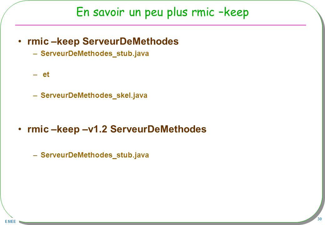 ESIEE 30 En savoir un peu plus rmic –keep rmic –keep ServeurDeMethodes –ServeurDeMethodes_stub.java – et –ServeurDeMethodes_skel.java rmic –keep –v1.2