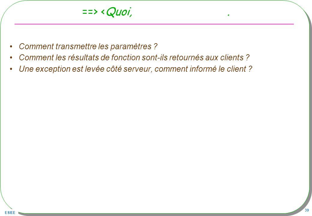 ESIEE 39 ==> <Quoi,. Comment transmettre les paramètres ? Comment les résultats de fonction sont-ils retournés aux clients ? Une exception est levée c
