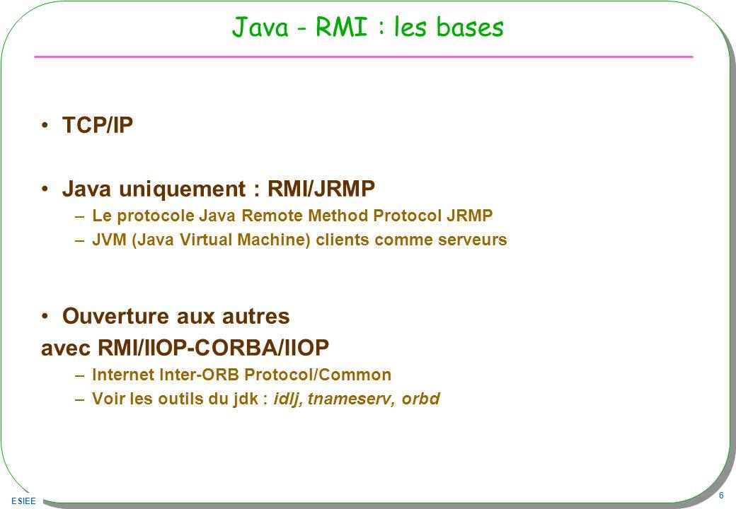 ESIEE 6 Java - RMI : les bases TCP/IP Java uniquement : RMI/JRMP –Le protocole Java Remote Method Protocol JRMP –JVM (Java Virtual Machine) clients co