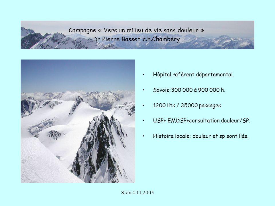 Sion 4 11 2005 Hôpital référent départemental.Savoie:300 000 à 900 000 h.