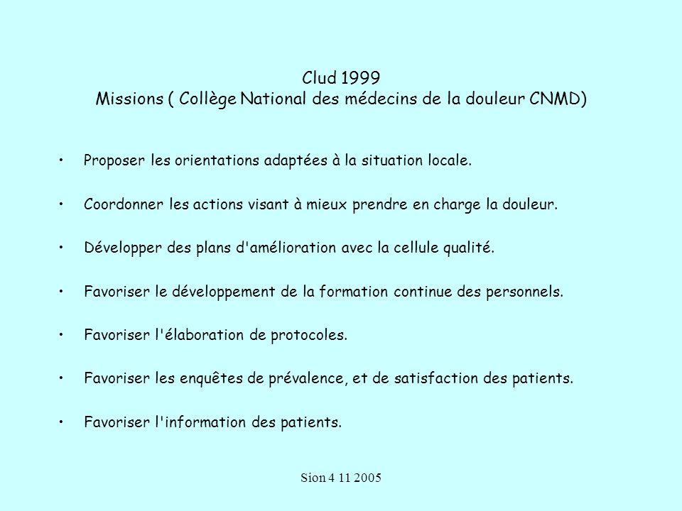 Sion 4 11 2005 Clud 1999 Missions ( Collège National des médecins de la douleur CNMD) Proposer les orientations adaptées à la situation locale.