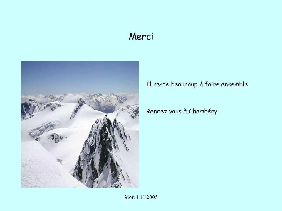 Sion 4 11 2005 Merci Il reste beaucoup à faire ensemble Rendez vous à Chambéry