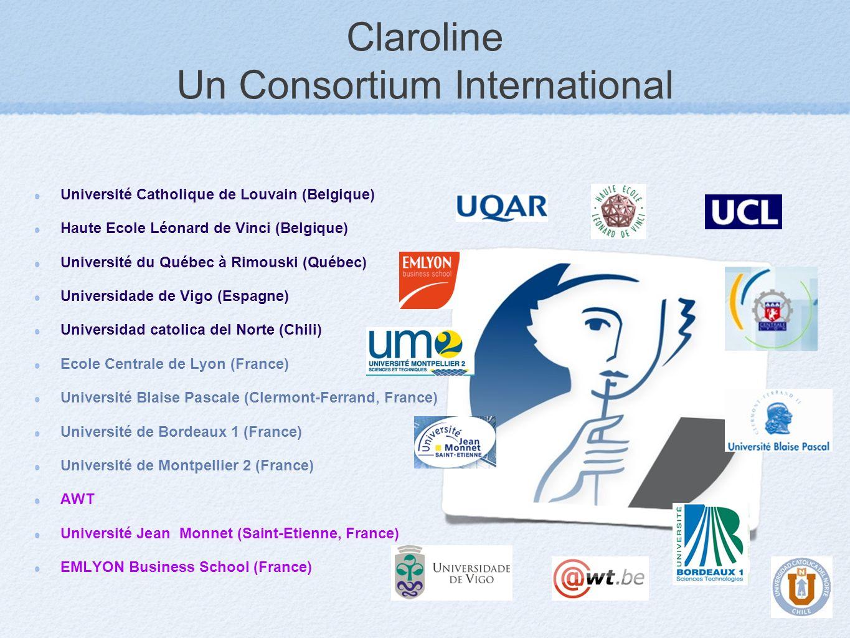 Claroline Un Consortium International Université Catholique de Louvain (Belgique) Haute Ecole Léonard de Vinci (Belgique) Université du Québec à Rimou