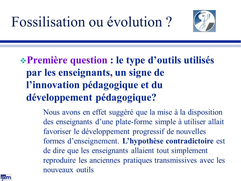 Fossilisation ou évolution ? Première question : le type doutils utilisés par les enseignants, un signe de linnovation pédagogique et du développement