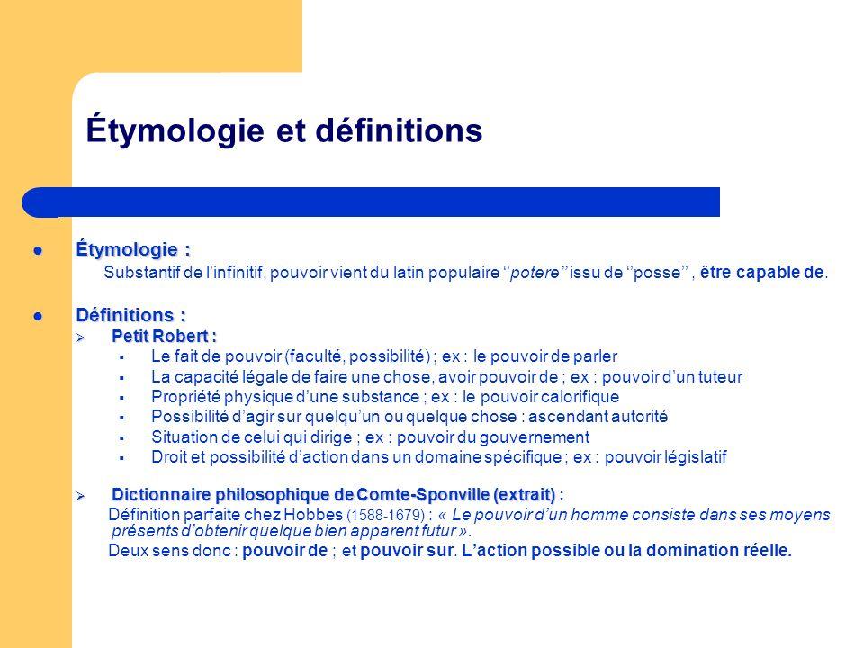 Étymologie et définitions Étymologie : Étymologie : Substantif de linfinitif, pouvoir vient du latin populaire potere issu de posse, être capable de.