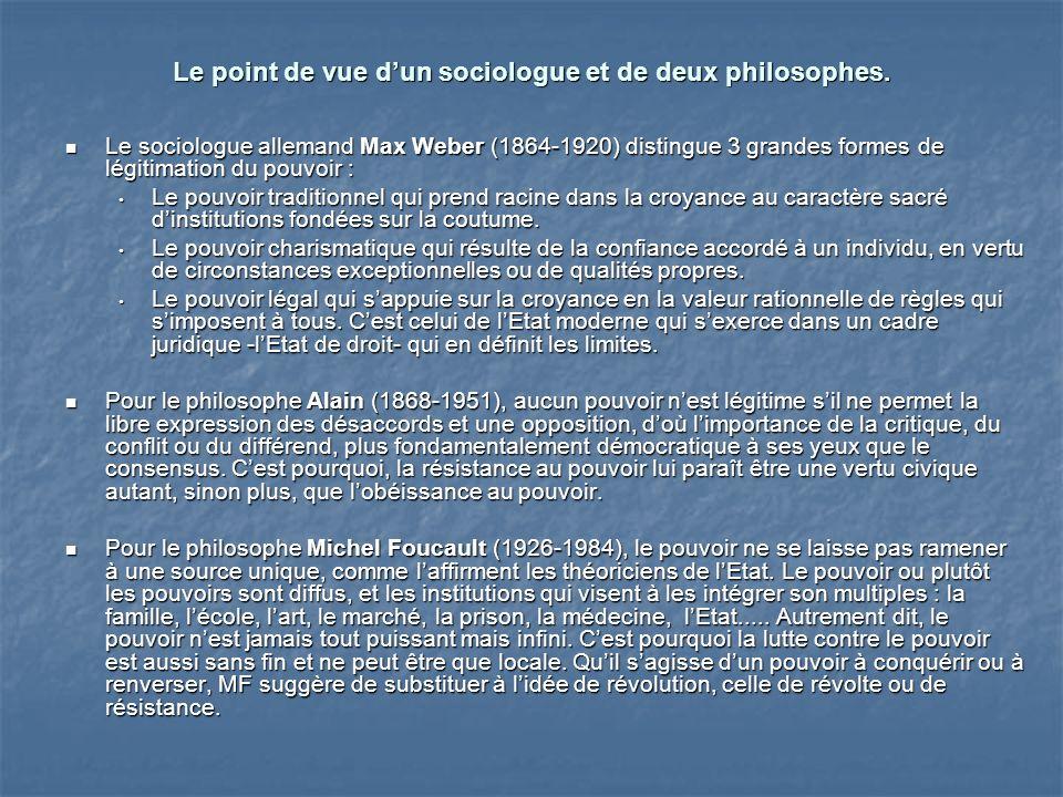Le point de vue dun sociologue et de deux philosophes.