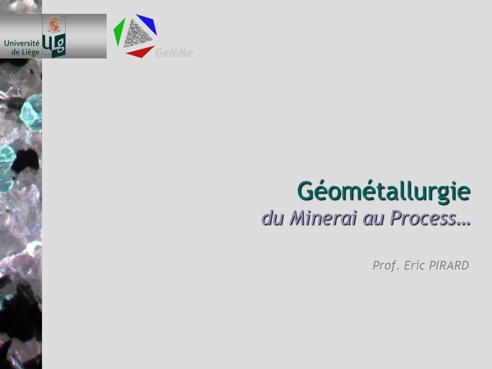 Géométallurgie du Minerai au Process… Prof. Eric PIRARD
