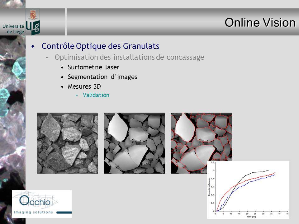 Online Vision Contrôle Optique des Granulats –Optimisation des installations de concassage Surfométrie laser Segmentation dimages Mesures 3D »Validati