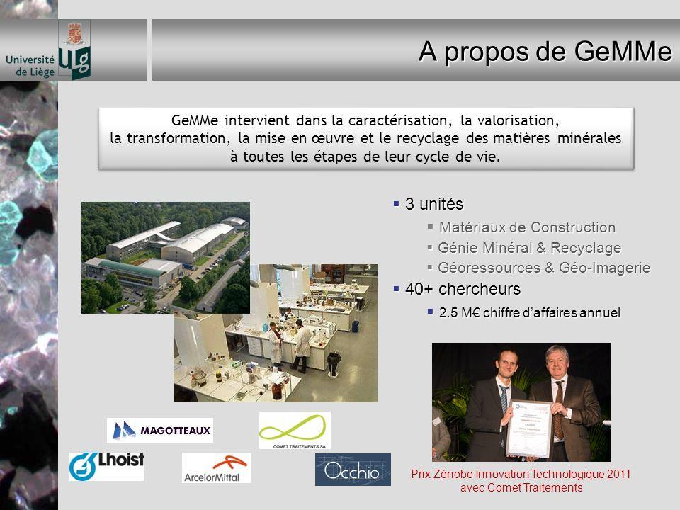 A propos de GeMMe 3 unités 3 unités Matériaux de Construction Matériaux de Construction Génie Minéral & Recyclage Génie Minéral & Recyclage Géoressour