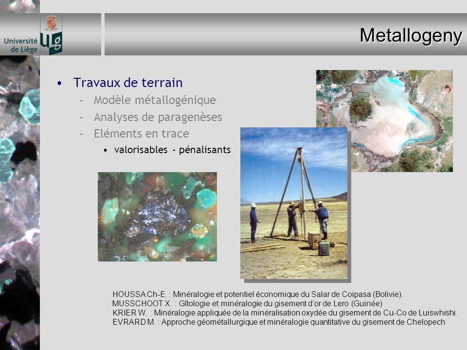 Metallogeny Travaux de terrain –Modèle métallogénique –Analyses de paragenèses –Eléments en trace valorisables - pénalisants HOUSSA Ch-E. : Minéralogi