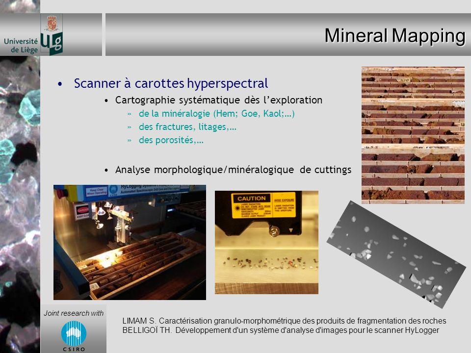 Mineral Mapping Scanner à carottes hyperspectral Cartographie systématique dès lexploration »de la minéralogie (Hem; Goe, Kaol;…) »des fractures, lita